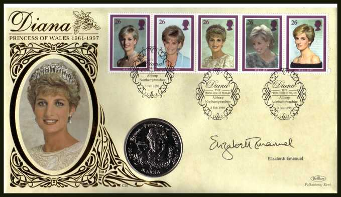 view larger back view image for Princess of Wales Commemoration - Benham coin cover containing BOSNIA coin featuring Diana autographed by her dress designer ELIZABETH EMANUEL. With BENHAM guarantee certificate - 10000 produced.