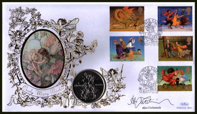 view larger back view image for Famous Children's Fantasies Novels Benham coin cover containing ISLE OF MAN Crown coin autographed by ALAN TITCHMARSH - Presenter of 'Ground Force' and other gardening programmes. With BENHAM guarantee certificate - only 2500 produced.