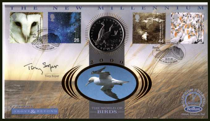 view larger back view image for Millennium Series - Above & Beyond - Benham coin cover containing GIBRALTAR Crown coin autographed by naturalist and film maker TONY SOPER. With BENHAM guarantee certificate - only 4000 produced.
