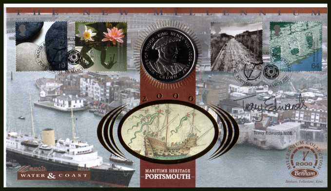 view larger back view image for Millennium Series - Water & Coast - Benham coin cover containing a ISLE OF WIGHT MEDAL. Autographed by TRACY EDWARDS MBE famous female sailor. With BENHAM guarantee certificate - only 1000 produced.