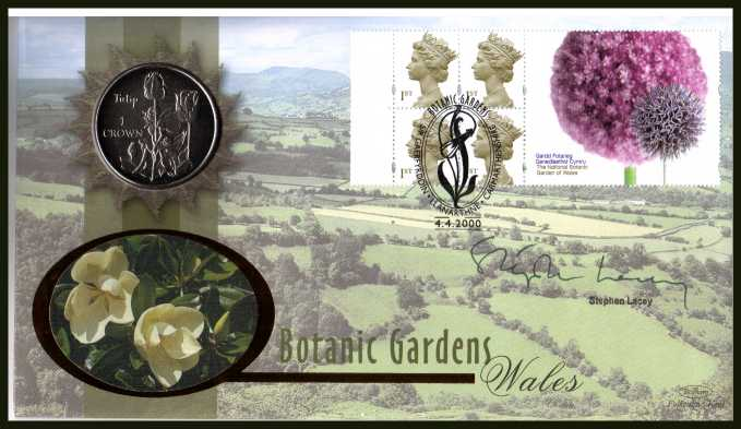 view larger back view image for 	Batanic Gardens booklet pane. Benham coin cover containing Great Britain �1.Autographed by the well know garden writer and TV presenter STEPHEN LACEY. With BENHAM guarantee certificate - only 1000 produced.