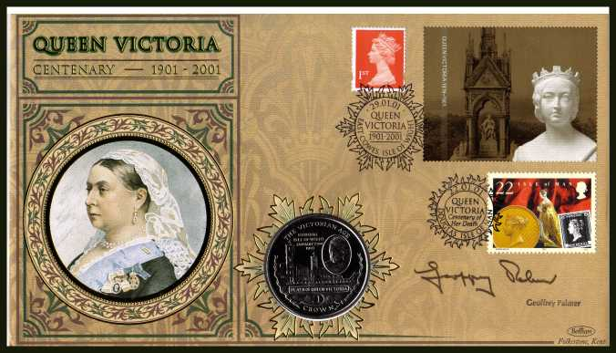view larger back view image for Death Centenary of Queen Victoria. Beham coin cover bearing the Self Adhesive Gold booklet pane label and single plus an ISLE OF MAN stamp and GIBRALTAR Crown and autographed by GEOFFREY PALMER who played VICTORIA's private secretary SIR HENRY PONSONBY i
