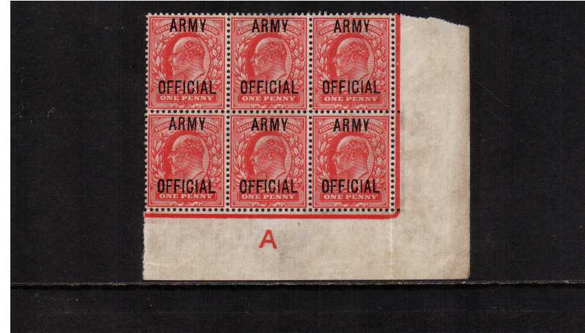 view larger image for SG O49 (1902) - <b>ARMY OFFICIAL</b><br/>1d Scarlet overprinted 'ARMY OFFICIAL' an a SE corner block of six showing the Control 'A' and Continuous Marginal Rule but with only a little gum.SG Cat for Control single  £180