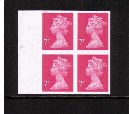 view larger image for SG Y1673a (2004) - 7p Bright Magenta - 2 Bands. A superb unmounted mint completely imperforate right side marginal block of four. SG Cat �400+ 