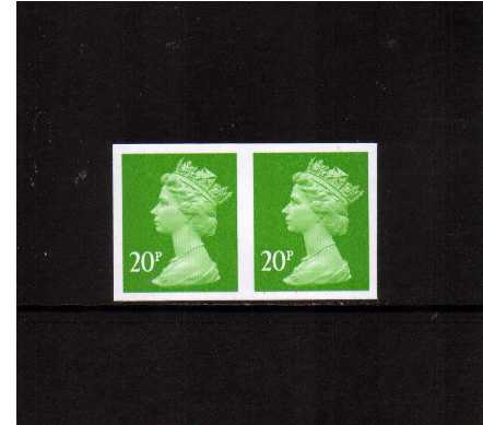 view larger image for SG Y1682a (1999) - 20p Bright Green - 2 Bands. A superb unmounted mint completely imperforate horizontal pair.