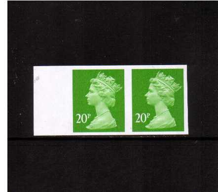 view larger image for SG Y1682a (1999) - 20p Bright Green - 2 Bands. A superb unmounted mint completely imperforate left side marginal horizontal pair.
