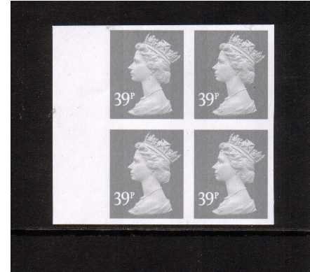 view larger image for SG Y1709a (2004) - 39p Grey - 2 Bands.A superb unmounted mint completely imperforate left side marginal block of four. Must be scarce marginal and block.