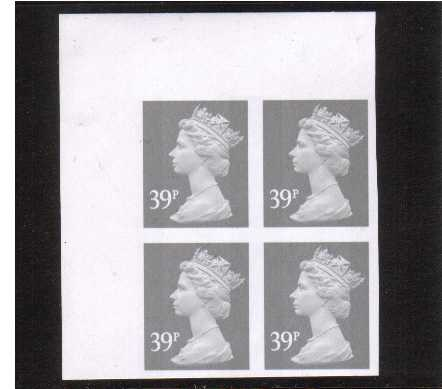 view larger image for SG Y1709a (2004) - 39p Grey - 2 Bands.A superb unmounted mint completely imperforate North West corner marginal block of four.