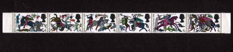 view larger image for SG 705c-710c (1966) - Battle of Hastings strip of six 4d values superb unmounted mint showing  <b>BISTRE OMITTED </b>on each stamp. Note this item is once folded between stamp 3 and 4 but is NOT falling apart! SG Cat �390