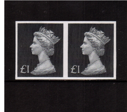view larger image for SG 831b var (1972) - �1 Bluish Black superb unmounted mint imperforate pair