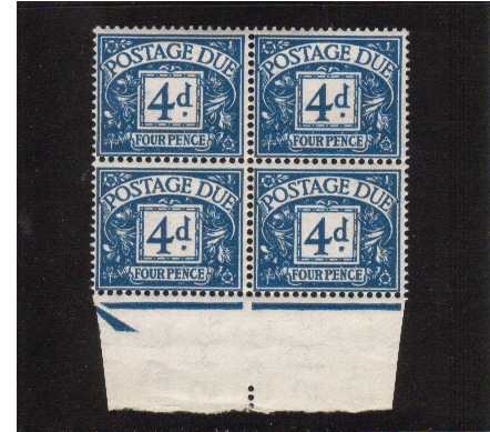 view larger image for SG D43 (1955) - 4d Blue - Watermark Tudor Crown in a superb unmounted mint lower marginal block of four. SG Cat �104