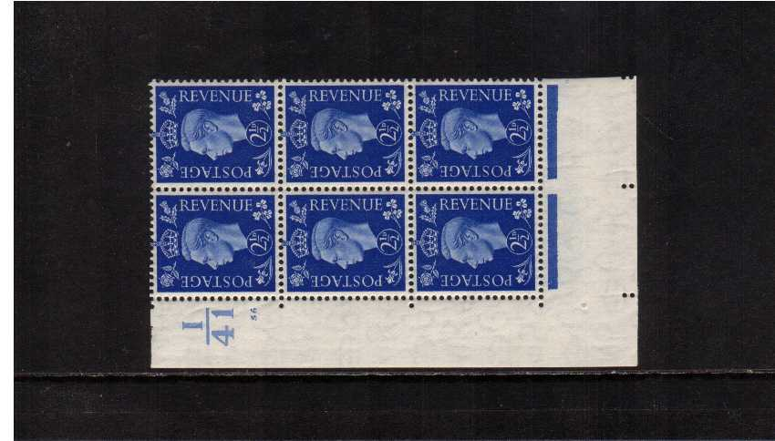 view larger image for SG 466 (1937) - 2�d Ultramarine in a cylinder block of six  once lightly mounted on top two stamps showing cylinder 56 and control I41 SG Cat �20