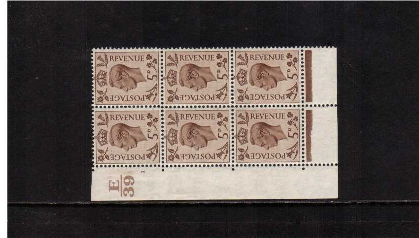view larger image for SG 469 (1937) - 5d Brown in a cylinder block of six  once lightly mounted on margin only showing cylinder 1 and control E39 SG Cat �35