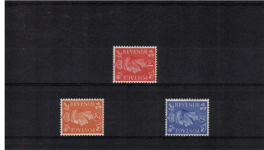 view larger image for SG 486a-489a (1941) - George 6th<br/>'Light Colours' Definitive set of three <br/>SIDEWAYS watermark