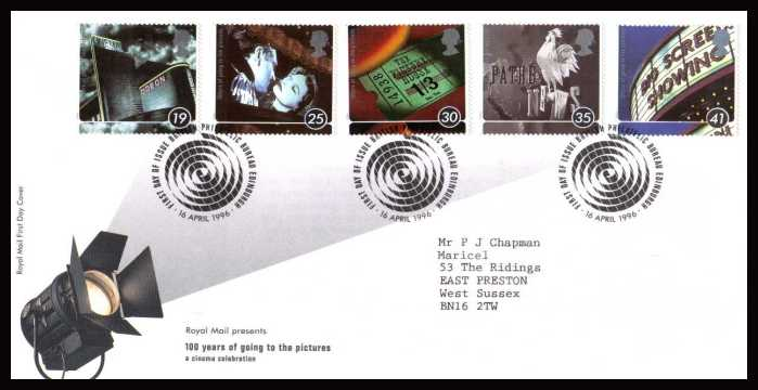 view larger back view image for Centenary of Cinema set of five on a neatly typed addressed official Royal Mail  FDC cancelled with the FDI cancel for PHILATELIC BUREAU - EDINBURGH dated 16 APRIL 1996.