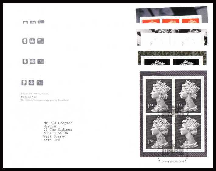 view larger back view image for 'Profile on Print' Complete set of four FDC's neatly typed  addressed official Royal Mail FDC each cancelled with an CITY OF WESTMINSTER - LONDON SW1  alternative FDI cancel dated 16 FEBRUARY 1999.
