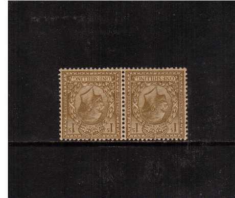 view larger image for SG 395Wi (1912) - 1/- Bistre<br/>A superb unmounted pair very clearly showing an INVERTED WATERMARK. Scarce. <br/><br/>Note: This is not the inverted AND reversed watermark stamp.