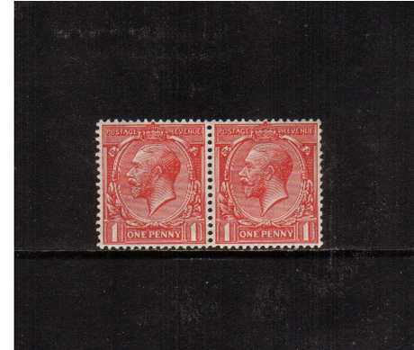view larger image for SG 357a (1912) - 1d Bright Scarlet. <br/>A superb very, very lightly mounted mint pair showing the famous 'Q for O' variety on stamp at right. Pretty!