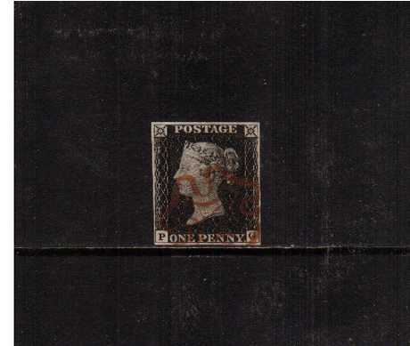 view larger image for SG 2 (1840) - 1d Black from Plate 6 lettered 'P-G'. <br/>A superb fine used four margined stamp cancelled with a BROWN Maltese Cross.