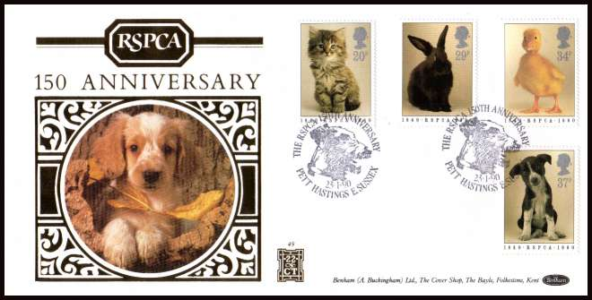 view larger back view image for 150th Anniversary of Royal Society for Prevention of Cruelty to Animals (RSPCA) on a BENHAM OFFICIAL 'silk' FDC (BEN 500 (49)) number 358 from 500.cancelled with a PETT - HASTINGS - E.SUSSEX special cancel dated 23 1 90.