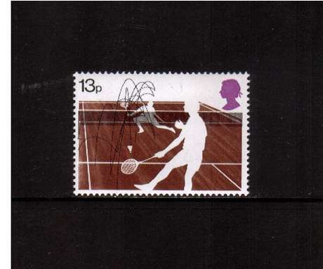 view larger image for SG 1025 (1977) - 13p Racket Sports -    Badmington -<br/>commemorative odd value