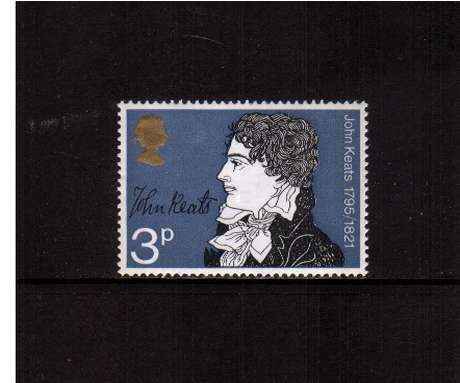 view larger image for SG 884 (1971) - 3p Literary Anniversaries  - John Keats<br/>commemorative odd value