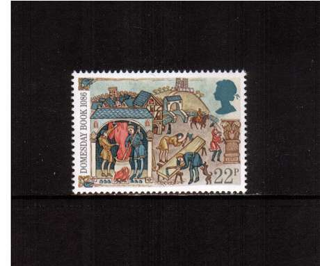 view larger image for SG 1325 (1986) - 22p - Domesday Book  - Freeman working at Town Trades