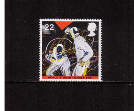 view larger image for SG 1564 (1991) - 22p -  World Student Games, Sheffield - Fencing