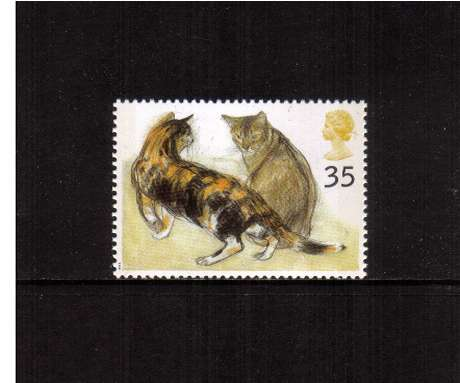view larger image for SG 1851 (1995) - 35p - Cats -    Tortoiseshell and Abyssinian Cats 