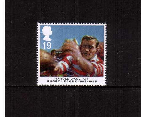 view larger image for SG 1891 (1995) - 19p - Centenary of Rugby League - Harold Wagstaff