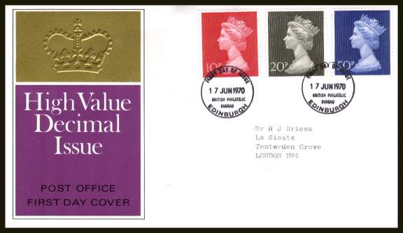 view larger back view image for Decimal Currency set of three on neatly typed official Post Office FDC cancelled with two BRITISH PHILATELIC BUREAU - EDINBURGH cancels dated 17 JUNE 1970.