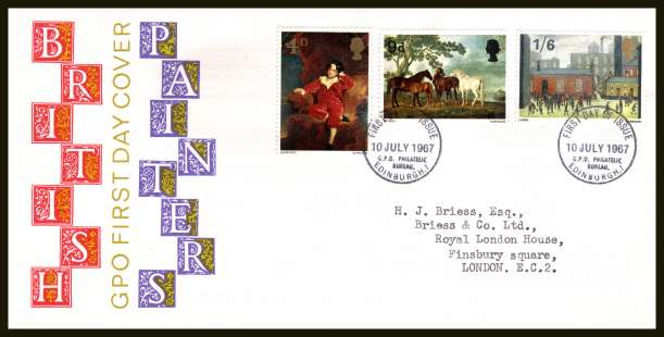 view larger back view image for British Paintings set of three on neatly typed official Post Office FDC cancelled with BRITISH PHILATELIC BUREAU - EDINBURGH cancel - Type C - dated 10 JULY 1967.
