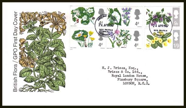view larger back view image for British Wild Flowers set of six on neatly typed official Post Office FDC cancelled with BRITISH PHILATELIC BUREAU - EDINBURGH cancel - Type C - dated 24 APRIL 1967.