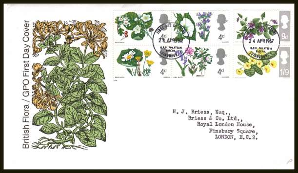 view larger back view image for British Wild Flowers <b>PHOSPHOR</b> set of six on neatly typed official Post Office FDC cancelled with BRITISH PHILATELIC BUREAU - EDINBURGH cancel - Type C - dated 24 APRIL 1967