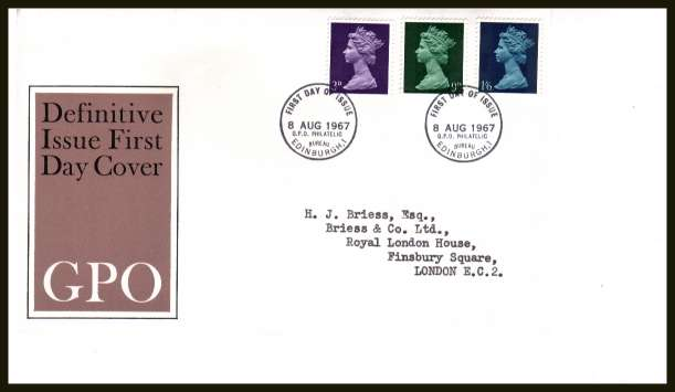 view larger back view image for Machin 3d 9d 1/6d  - set of three on neatly typed official Post Office FDC cancelled with BRITISH PHILATELIC BUREAU - EDINBURGH cancel - Type C - dated 8 AUGUST 1967.