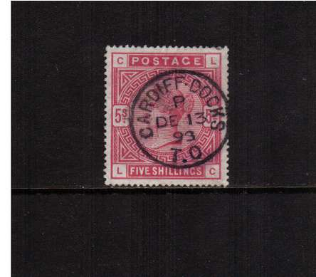 view larger image for SG 181 (1883) - 5/- Crimson lettered 'L-C' cancelled with a bold upright CARDIFF DOCKS - T.O. dated DE 13 93. Very feint corner crease mentioned for accuracy not visible from front.<br/>