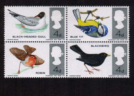view larger image for SG 696a (1966) - British Birds block of four