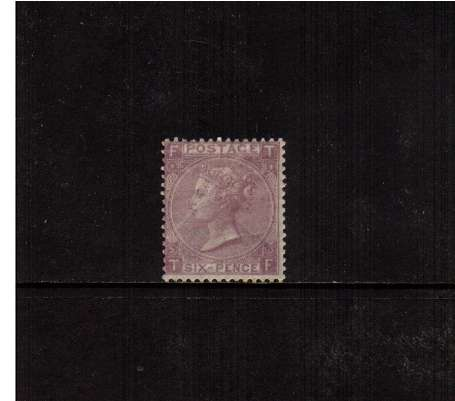 view larger image for SG 97 (1865) - 6d Lilac - Watermark Emblems - from Plate 5 lettered 'T-F'. A good lightly mounted mint stamp with full original gum. <br/>SG Cat �900