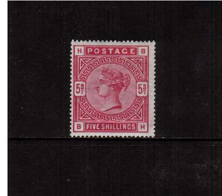 view larger image for SG 181 (1883) - 5/- Crimson lettered 'B-H'. A good lightly mounted mint fresh stamp centered a little to the left. Rich colour.<br/>SG Cat �0 