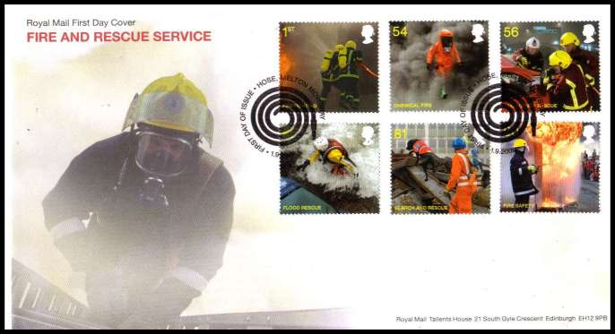 view larger back view image for Fire and Rescue Service on an unaddressed official Royal Mail FDC cancelled with the official alternative FDI cancel for HOSE - MELTON MOWBRAY dated 1 9 2009.
