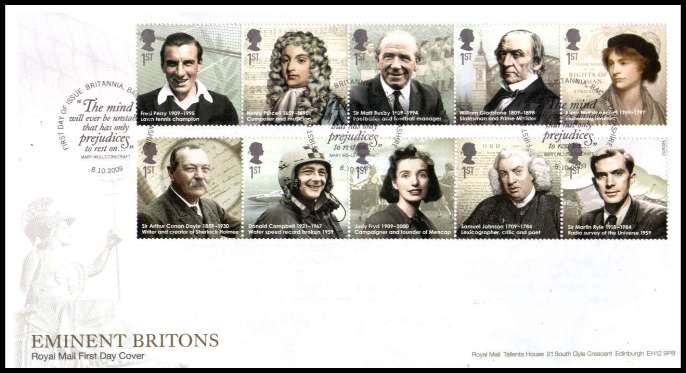 view larger back view image for Eminent Britons on an unaddressed official Royal Mail FDC cancelled with the official alternative FDI cancel for BRITANNIA - BACUP dated 8 10 2009.