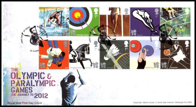 view larger back view image for Olympic Games - 1st Issue -  on an unaddressed official Royal Mail FDC cancelled with the official alternative FDI cancel for BADMINGTON - GLOS dated 22 10 2009.