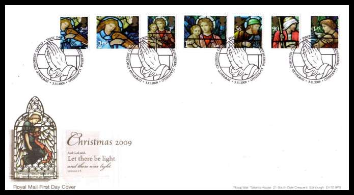 view larger back view image for Christmas set of seven on an unaddressed official Royal Mail FDC cancelled with the official alternative FDI cancel  BETHLEHEM - LLANDEILO dated 3 11 2009.