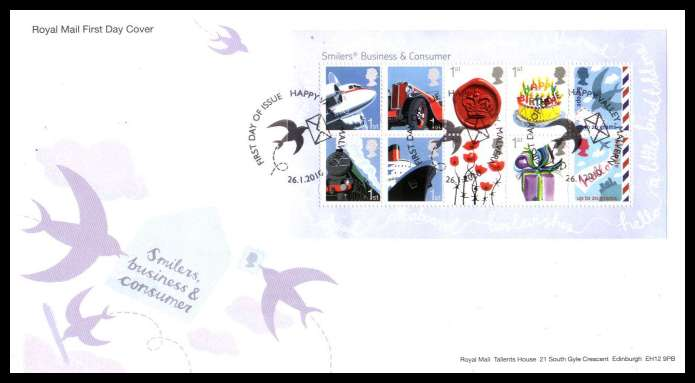 view larger back view image for Smilers minisheet on an unaddressed official Royal Mail FDC cancelled with the official alternative FDI cancel for HAPPY VALLEY - MALVERN dated 26 1 2010.