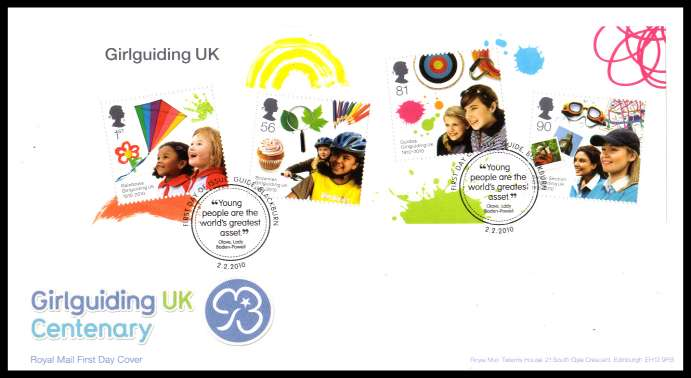view larger back view image for Girlguiding UK Centenary minisheet onm an unaddressed official Royal Mail FDC cancelled with the official alternative FDI cancel for GUIDE - BLACKBURN dated 2 2 2010