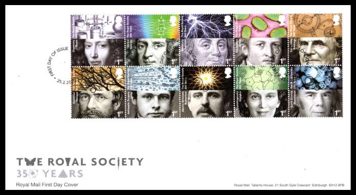 view larger back view image for The Royal Society block of ten on an unaddressed official Royal Mail FDC cancelled with the official alternative FDI cancel for LONDON W1 dated 25 2 2010