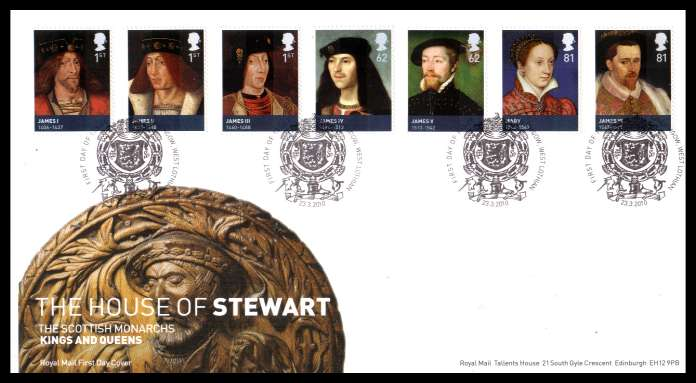 view larger back view image for House of Stewart set of seven on an unaddressed official Royal Mail FDC cancelled with the official alternative FDI cancel for LINLITHGOW - WEST LOTHIAN  dated 23 3 2010