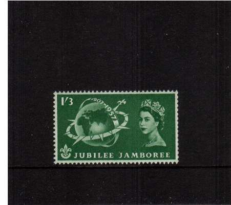 view larger image for SG 559v (1957) - World Scout Jubilee Jamboree 1/3d Green superb unmounted mint COIL stamp. Coils of the 3 values were made as an experiment for fixing by machine to FDCs. This is a genuine coil single. Unusual!