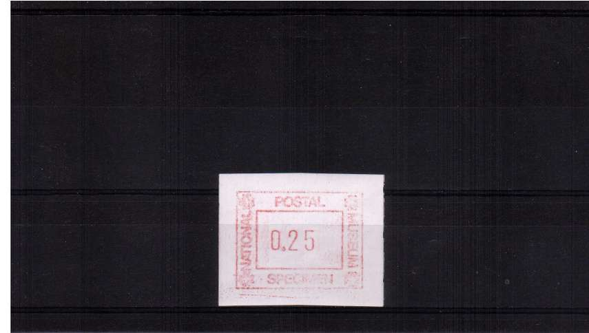 view larger image for  (1988) - NATIONAL POSTAL MUSEUM - SPECIMEN single superb unmounted mint showing the impossible overvalue of 25p. The highest value possible should be ''17p''. Very unusual.
