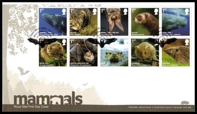 view larger back view image for Action for Species - 4th Series - Mammals block of ten on an unaddressed official Royal Mail FDC cancelled with the official alternative FDI cancel for BATTS CORNER - FARNHAM dated 13 4 2010